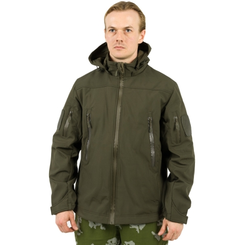 olive green softshell jacket